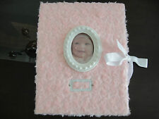 *NEW Baby Girl Pink Roses Princess Memory Keepsake Book with photo frame and tie
