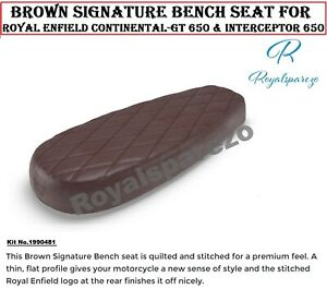 """""""BROWN SIGNATURE BENCH SEAT"""" ROYAL ENFIELD INTERCEPTOR 650 & CONTINENTAL-GT 650"""