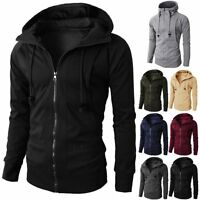 Men Winter Slim Hoodie Warm Hooded Sweatshirt Coat Jacket Zip Up Outwear Sweater