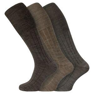 Mens 3 Pairs Soft Lambswool Extra Long Knee High Socks UK 6-11 EU 39-45 - BROWN