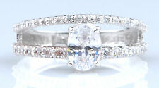 Real 14KT White Gold 2.50 Carat Amazing Oval Shape Solitaire Engagement Ring