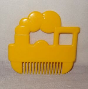 Vintage Train Steam Engine Novelty Comb Shape Yellow Child's Toy Wide Tooth