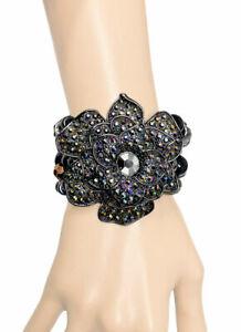 Graphite Black Rose Flower Chunky Statement Bracelet Iridescent Rhinestone