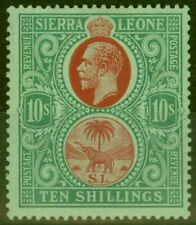 Sierra Leone 1927 10s Red & Green-Green SG146 V.F Very Lightly Mtd Mint
