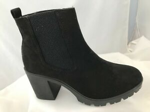 NEW Topshop Byron Black Suede Fabric Chelsea Block Heel Ankle Boots Sizes 5 & 7