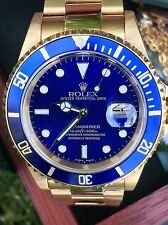 Rolex Submariner Date 16618 Blue - 18k Solid Gold watch w/ Box, Booklet, Tag