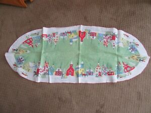 "Vintage Linen Christmas Town Churches Table Runner 24"" x 20"""