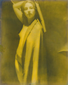 8x10 silver gelatin photo, draped nude, gold, unusual, Edition 1 of 1, 2001