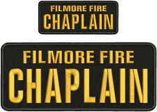FILMORE FIRE CHAPLAIN EMB PATCH 4X10&2X5 HOOK ON BACK B/GOLD
