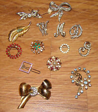 Antique Brooch Collection (14 Pieces) Gold, Silver, Rhinestone, Faux Pearl