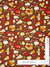 Wine Cheese Italian Kitchen Toss Brown Timeless Treasures Gail C5597 By The Yard