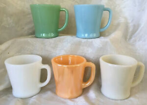 Lot of 5 Fire King D Handle Mugs~Jadeite~Turquoise Blue~White~Ivory~Peach Luster