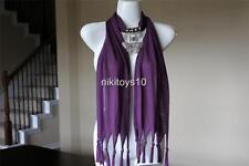 Purple Fashion Jewelry Scarf w Decoration Rhinestone Butterfly Necklace Pendant