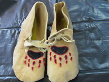 NATIVE AMERICAN COZY WARM BEADED MOCCASINS 12 INCHES LONG BEAR CLAW DESIGN