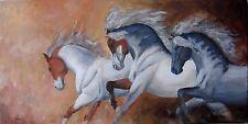 """Grand Tableau original de Caillon 80x40 cm """"les 3 anges"""" cheval anglo arabe"""