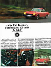 PUBLICITE ADVERTISING   1967    FIAT 124  coupé SPORT