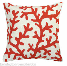 """PILLOWS - CORAL GABLES NEEDLEPOINT THROW PILLOW - CORAL - 18"""" SQUARE"""