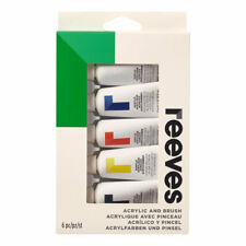 Reeves Pittura Acrilica & Spazzola Arte e Mestiere Set 5 x 22ml Starter Colori