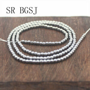 """Jewelry DIY Round Silver Metallic Coated Hematite Gemstone Beads Strand 15""""2mm"""