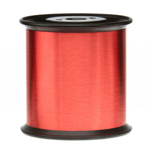 """42 AWG Gauge Enameled Copper Magnet Wire 5.0 lbs 0.0026"""" 155C Red MW-79-C"""