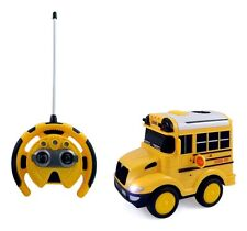 R/C School Bus Radio Control Toy Car for Kids Steering Wheel Remote Light Sounds