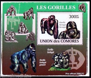 Comoros 2009 MNH Sheet, Mountain Gorilla, Monkeys Critically Endangered