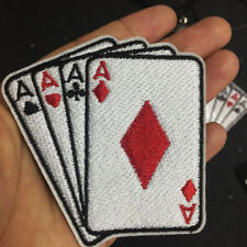 ACE Patches Playing Cards Poker Applique Embroidery Stickers Sew Iron-On Labels