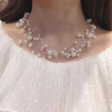 Sexy Lady Women Pearl Multi-chain Choker Collar Pendant Necklace Jewelry Gift UK