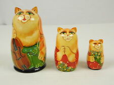 Russian Matryoshka Nesting 3 Dolls Handpainted Cats Mom Dad Child Musical Cello