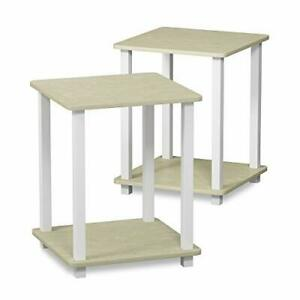 Furinno Simplistic 2-Pack End Table, Side Table, Cream Faux Marble