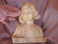 Sculpture Albâtre d' Eugenio Battiglia Buste de Jeune Fille  Italie fin XIXème