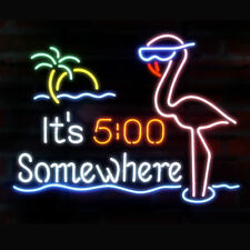 Neon Signs It's 5 O'clock Somewhere Beer Bar Pub Party Homeroom Decor 19x15