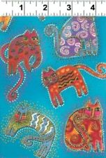 Laurel Burch FABULOUS FELINES Y1110-32M Turq Cats Cotton Fabric FREE US SHIPPING