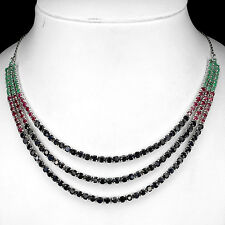 RARE NATURAL TOP FANCY COLORS EMERALD,SAPPHIRE,RUBY STERLING 925 SILVER NECKLACE