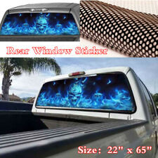 "22""x65"" Blue Flaming Skull Graphics Decal Sticker For Car Pickup SUV Rear Window"