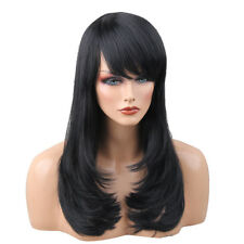 Women Black Lady Long Hair Wig Curly Wavy Human Hair Cosplay Party Full Wigs