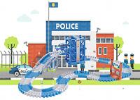 Police Series Race Flexible Track DIY Racing Game Playset Light Up Car Toy Kids