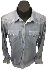 American Eagle Outfitters Western Campdraft Pearl Snap LS White Blue Shirt Sz L