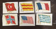Lot Of 6 Silk Flag Cigar Cigarette Tobacco Premiums Antique Textiles(lot # 1)