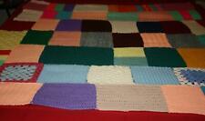 "Handmade Multi Colored Patchwork Crochet Throw Blanket 52"" x 52"""