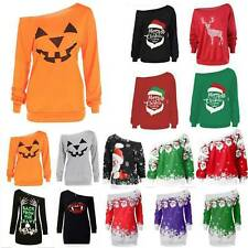 Halloween Women Off Shoulder Sweatshirt Long Tops Pullover Christmas Mini Dress