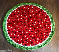 Pom Pom Felt Balls Nursery Rug Size 90 cm Wool Fruit Design Kids Room Carpet Mat