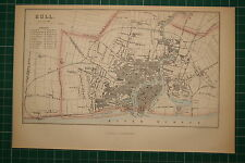 1870 ANTIQUE MAP HULL CITY PLAN TOWN HALL STATIONS CHURCHES POST OFFICE THEATRE
