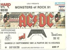 RARE / TICKET DE CONCERT - AC/DC / METALLICA : LIVE A PARIS ( FRANCE ) 1991