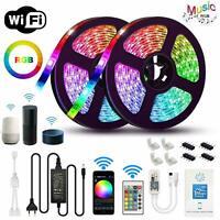5M/10M Flexible Smart WiFi RGB IP65 LED Light Strip for Alexa Amazon Google Home
