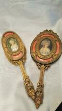 Antique French Bronze & Pink Guilloche Hand Mirror & Brush Set w/ Miniature