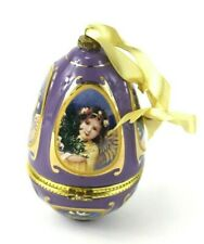 Mr Christmas Egg Ornament Music Box Purple Plays Angels We Have Heard on High