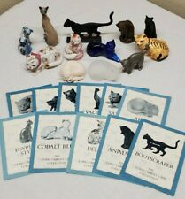 The Franklin Mint The Curio Cabinet Cats Collection with 12 Cats & 11 Booklets