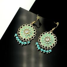 Costume Fashion Earrings Chandelier Mini Pearl Turquoise Tassel Vintage E6