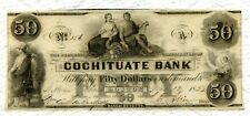 SuperNice The Cochituate Bank Choice CU 1853 $50 Obsolete Banknote! 4 Margins!